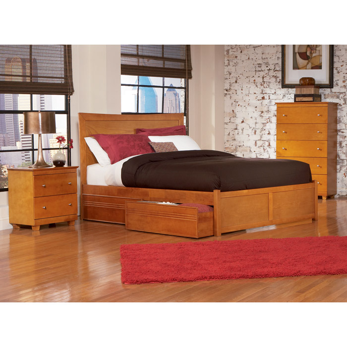 Miami Platform Bed w/ Flat Panel Footboard and Drawers - ATL-MIAPBFPFD