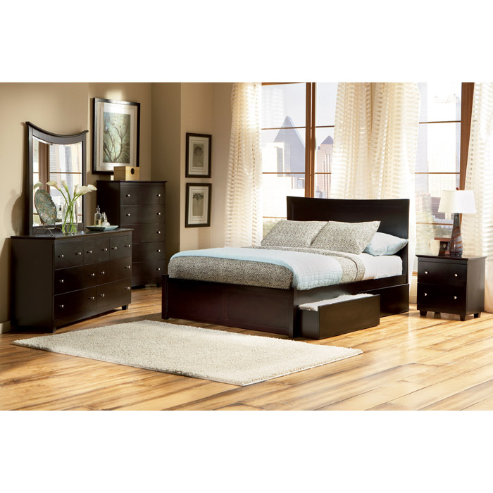 Miami Platform Bed w/ Flat Panel Footboard and Drawers in Espresso - ATL-MIAPBFPFDES