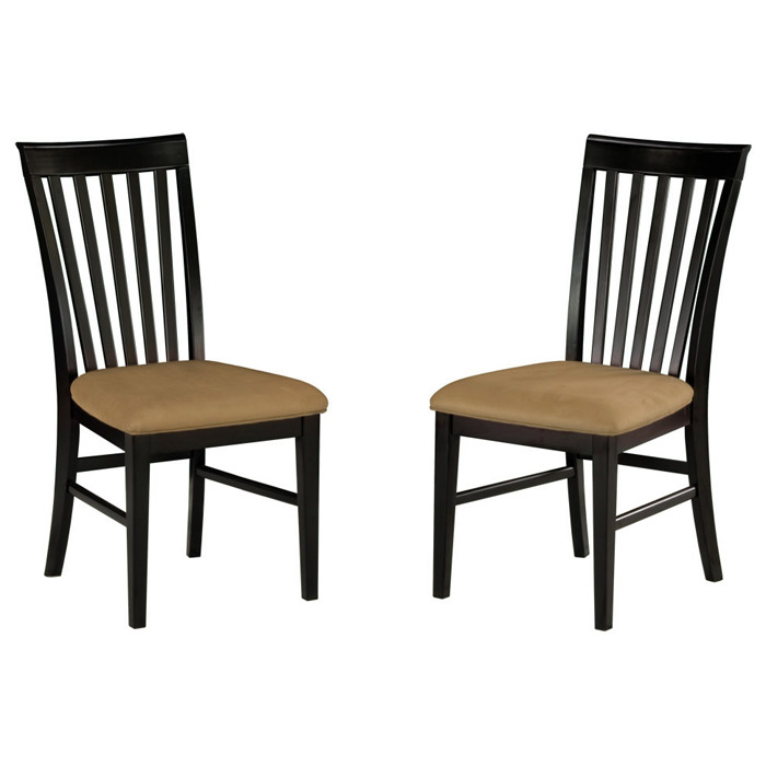 Mission Slatted Dining Chair w/ Cappuccino Microfiber Seat