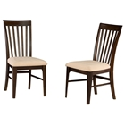 Montreal Slatted Dining Chair w/ Oatmeal Fabric Seat