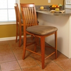 "Montreal 25.5"" Pub Chairs - Slat Back, Cappuccino Seat"