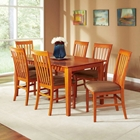 Shaker 7 Piece Rectangle Dining Set w/ Slatted Chairs