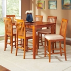 Shaker 7 Piece Pub Set w/ Rectangular Table and Slatted Chairs