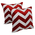"Chevron Velvet Applique 20"" Throw Pillows in Crimson Velvet and Ivory Fabric (Set of 2)"