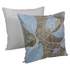 "Picasso Foliage Hand-Embroidered 20"" Throw Pillows - Aqua Blue and Beige (Set of 2)"