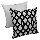"Trellis Velvet Applique 20"" Throw Pillows - Black Velvet and Ivory Fabric (Set of 2)"