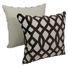 "Trellis Velvet Applique 20"" Throw Pillows in Brown Velvet and Natural Fabric (Set of 2)"