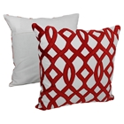 "Trellis Velvet Applique 20"" Throw Pillows, Crimson Velvet and Ivory Fabric (Set of 2)"