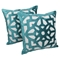 "Velvet Elegance Applique 20"" Throw Pillows, Aqua Blue Velvet and Ivory Fabric (Set of 2) - BLZ-FL-3-20-S2-AB-IV"