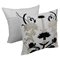 "Floral Elegance 20"" Throw Pillows - Black and Beige Velvet, Ivory Fabric (Set of 2) - BLZ-FL-5-20-S2-BK-BE"