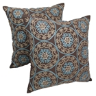 "Medallion 20"" Throw Pillows in Baby Blue and Beige Embroidery and Brown Fabric (Set of 2)"