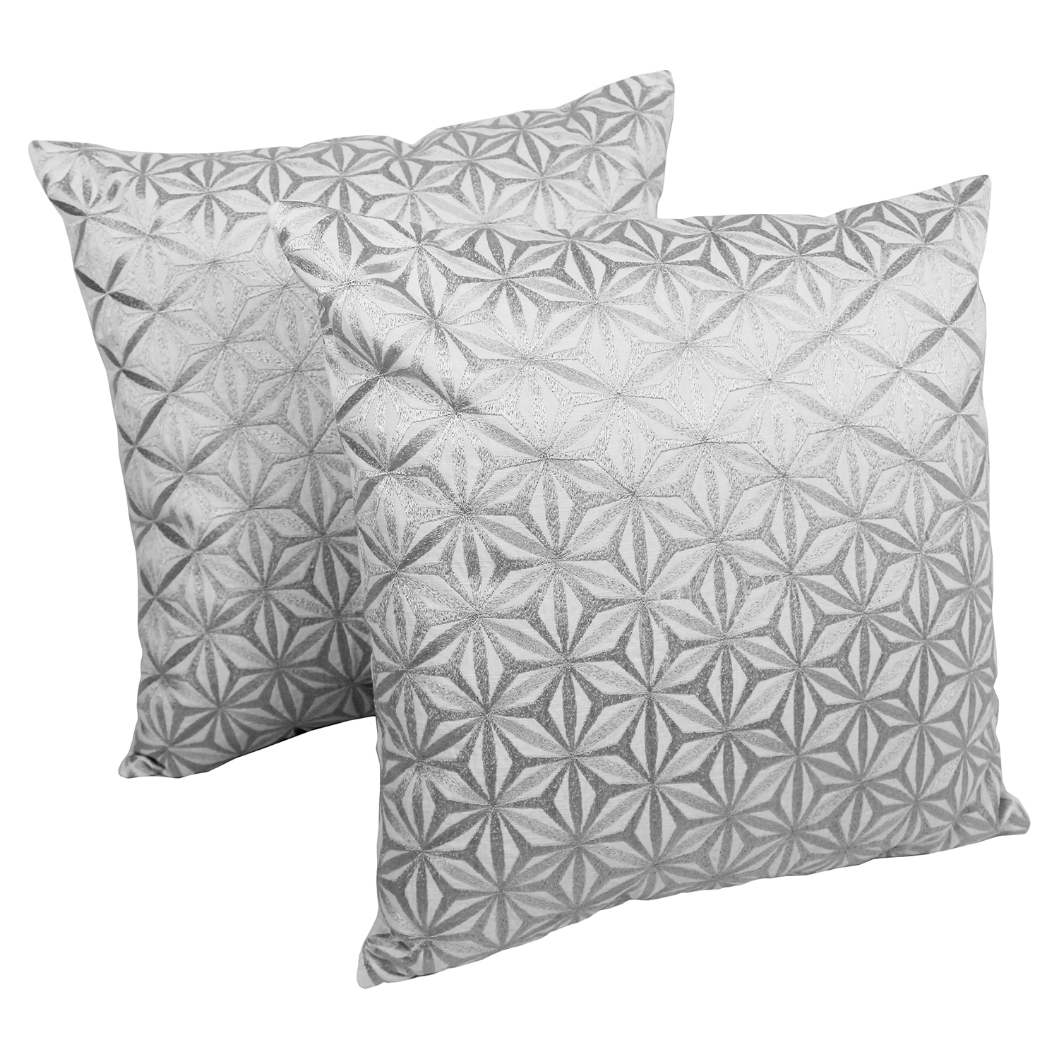 "Diamond Mosaic 20"" Throw Pillows - Silver Embroidery and Ivory Fabric (Set of 2)"