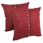 "9-Button 20"" Throw Pillows in Burgundy (Set of 2)"