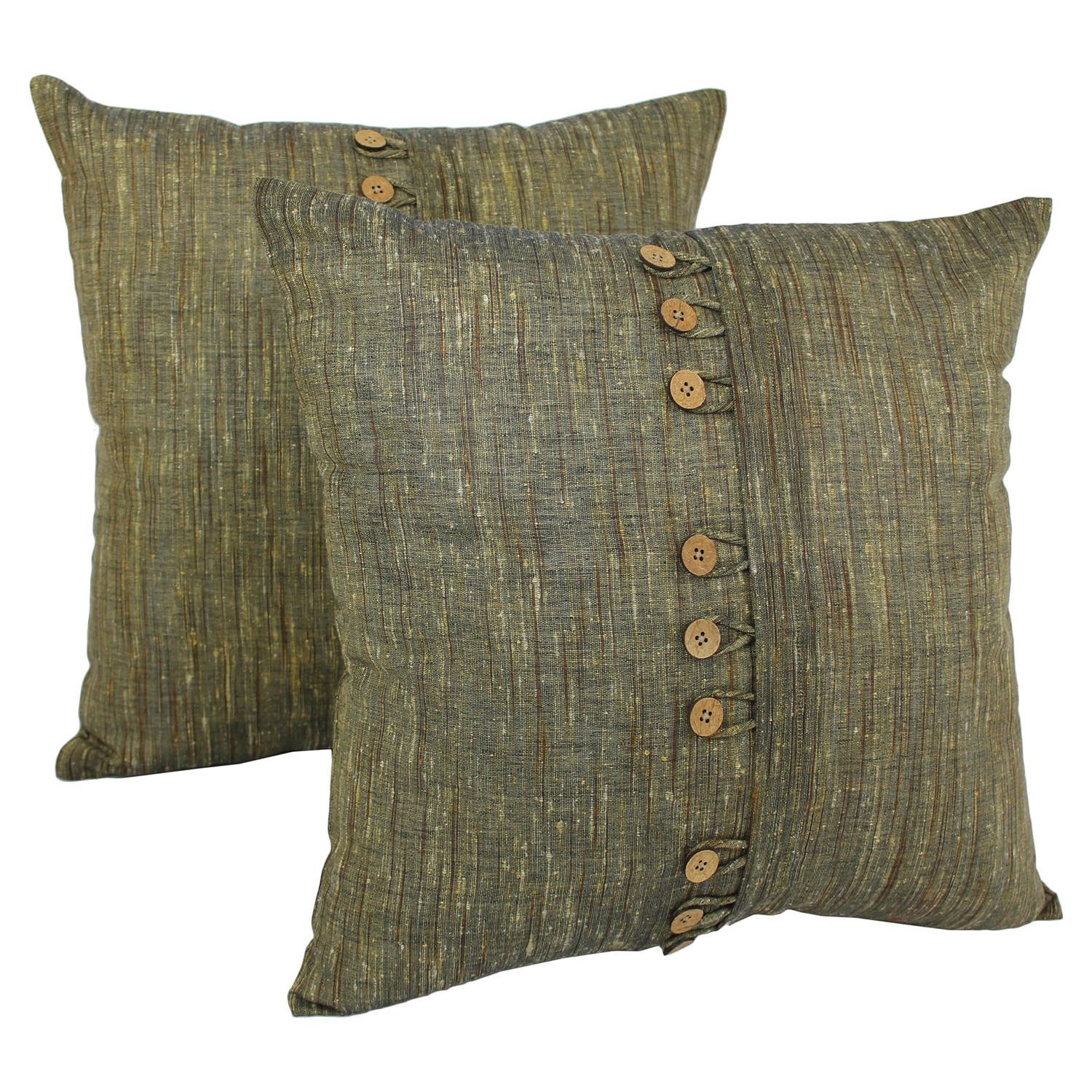 "9-Button 20"" Throw Pillows - Sage (Set of 2)"