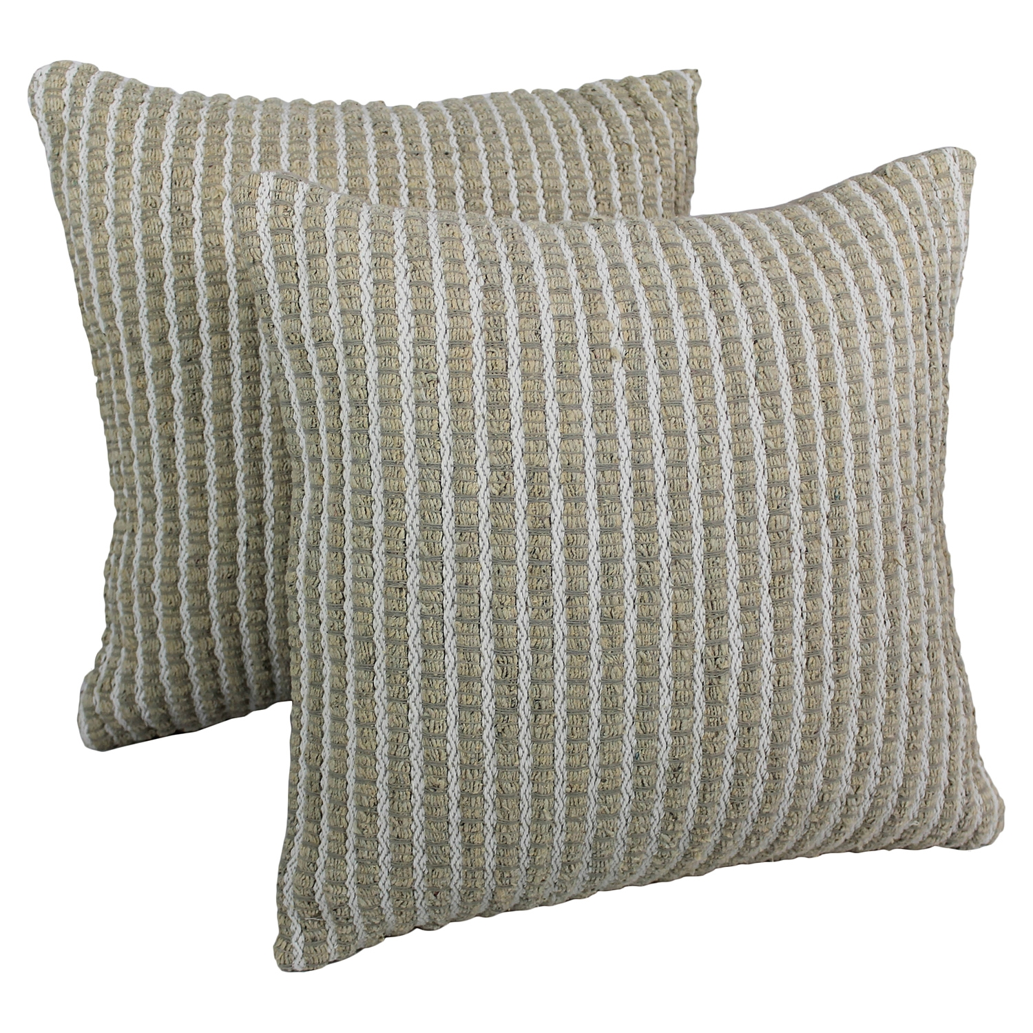 Woven Look Rope Corded Pillows in White and Beige (Set of 2) - BLZ-IE-20-WOV-RP-1-S2