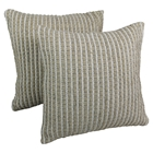 Woven Look Rope Corded Pillows in White and Beige (Set of 2)