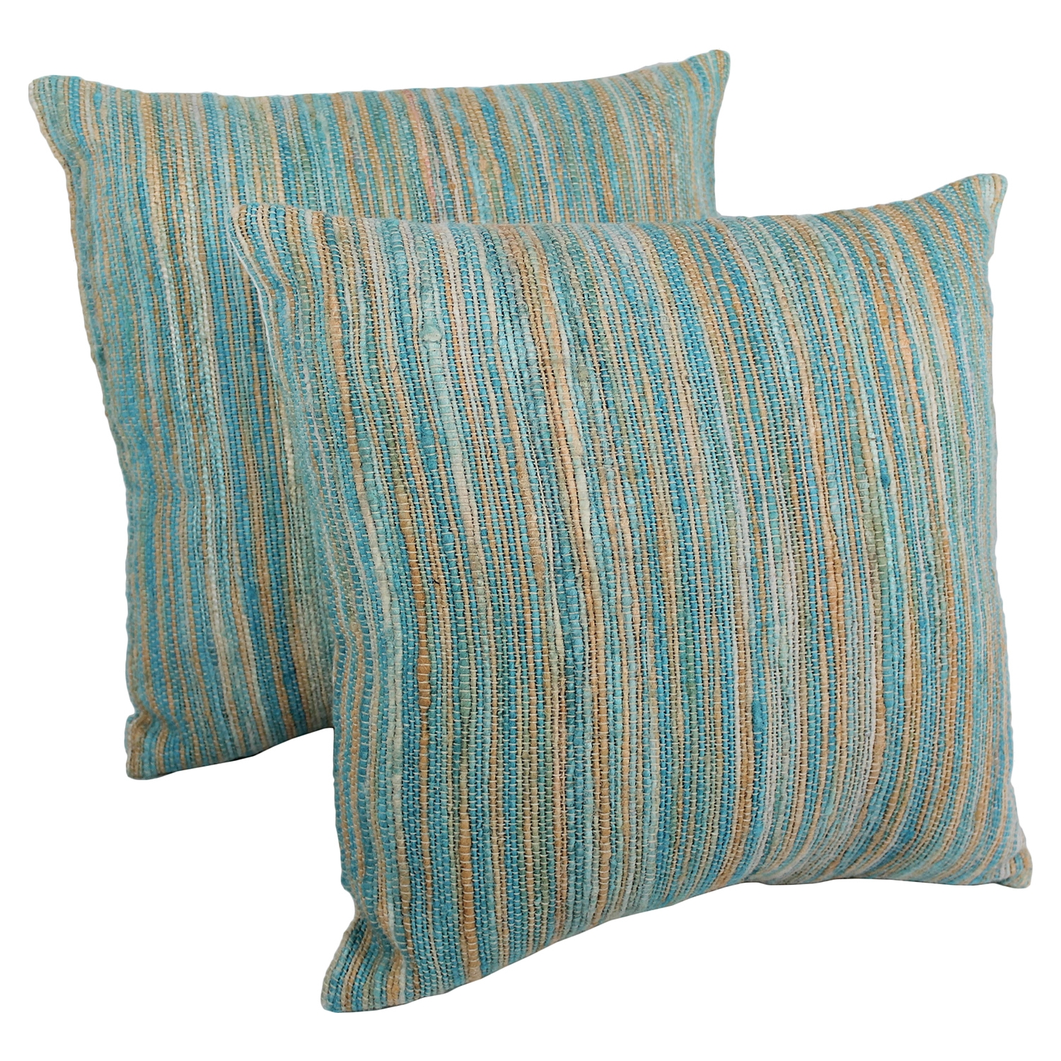 "20"" Throw Pillows - Aqua Blue and Beige Blue Palette Striped (Set of 2)"