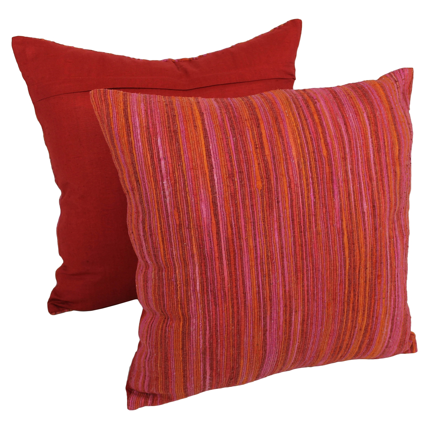 "20"" Throw Pillows in Red Palette with Rainbow Yarn Threading (Set of 2)"