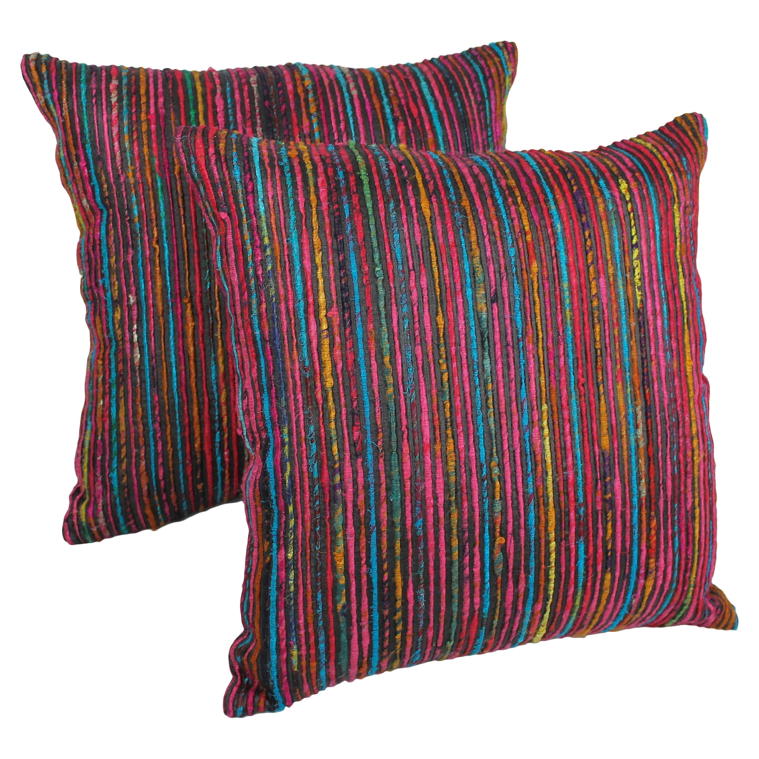"20"" Throw Pillows - Rainbow Yarn and Black Fabric (Set of 2) - BLZ-IE-20-YRN-S2-RBW-BK"