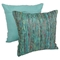 "Yarn Woven 20"" Throw Pillows in Rainbow Yarn and Teal Fabric (Set of 2) - BLZ-IE-20-YRN-S2-RBW-TL"
