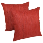 "Yarn Woven 20"" Throw Pillows - Red (Set of 2)"