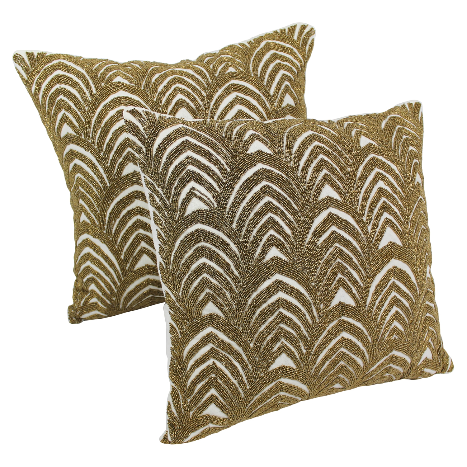 "Arching Fans Beaded 20"" Throw Pillows in Gold Beads and Ivory Fabric (Set of 2) - BLZ-IN-20273-20-S2-IV-GO"