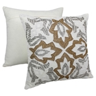 "Symmetrical Floral Beaded 20"" Throw Pillows in Gold Beads and Ivory Fabric (Set of 2)"