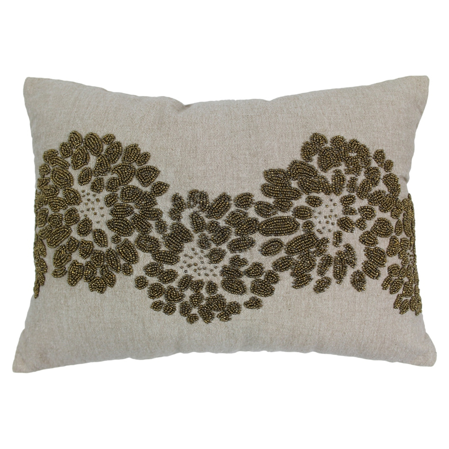 Floral Pattern Beaded Chambrey Throw Pillows - Gold Beads and Natural Fabric (Set of 2) - BLZ-IN-20711-18-13-S2