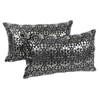 "Paisley Scaled Velvet 20"" x 12"" Throw Pillows in Black Velvet & Silver Foil Applique (Set of 2)"