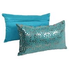 "Paisley Scaled Velvet 20"" x 12"" Throw Pillows, Teal Velvet & Silver Foil Applique (Set of 2)"