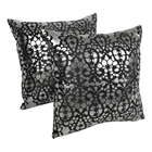 "Paisley Scaled Velvet 20"" Throw Pillows - Black Velvet and Silver Foil Applique (Set of 2)"