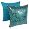 "Paisley Scaled Velvet 20"" Throw Pillows, Teal Velvet and Silver Foil Applique (Set of 2) - BLZ-IN-21256-20-S2-TL-SV"