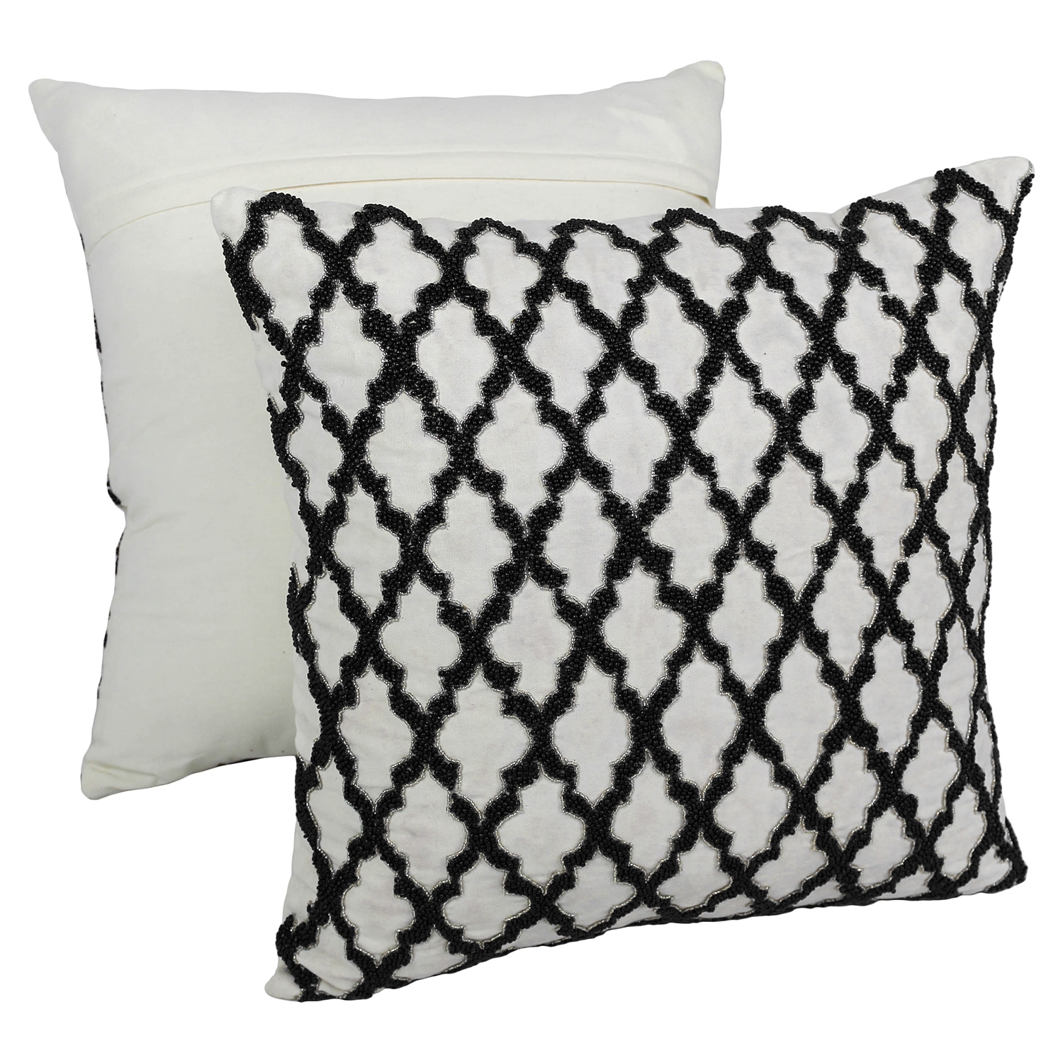"Moroccan Patterned Beaded 20"" Throw Pillows in Black Beads and Ivory Fabric (Set of 2) - BLZ-IN-21343-20-S2-IV-BK"