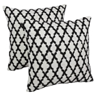 "Moroccan Patterned Beaded 20"" Throw Pillows in Black Beads and Ivory Fabric (Set of 2)"