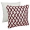 "Moroccan Patterned Beaded 20"" Throw Pillows - Red Beads and Ivory Fabric (Set of 2) - BLZ-IN-21343-20-S2-IV-RD"