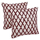 "Moroccan Patterned Beaded 20"" Throw Pillows - Red Beads and Ivory Fabric (Set of 2)"