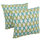 "Moroccan Patterned Beaded 20"" Throw Pillows, Sea Green/Teal Beads, Ivory Fabric (Set of 2)"