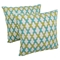 "Moroccan Patterned Beaded 20"" Throw Pillows, Sea Green/Teal Beads, Ivory Fabric (Set of 2) - BLZ-IN-21343-20-S2-IV-SG-TL"