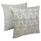 "Moroccan Beaded Velvet 20"" Throw Pillows, Silver Beads and Ivory Velvet (Set of 2) - BLZ-IN-21365-20-S2-IV-SV"