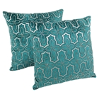 "Moroccan Beaded Velvet 20"" Throw Pillows in Silver Beads and Teal Velvet (Set of 2)"