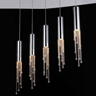 Jael 5 Light Pendant Lamp - Clear Crystals, Chrome Steel