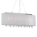 Jasmine 5 Light Crystal Chandelier - White Fabric