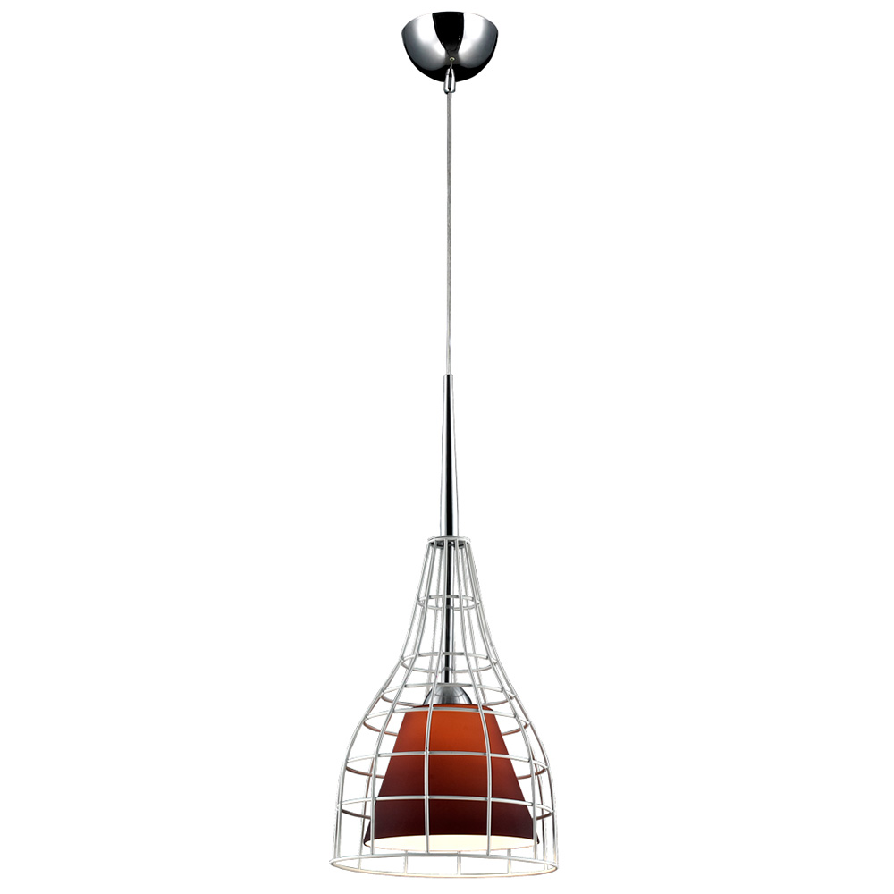 Nixon Pendant Light - White Metal, Purple Glass