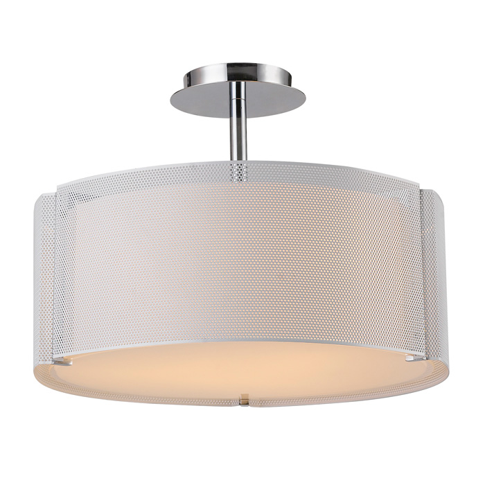 Lynch Pendant Light - Glass, White Iron Mesh