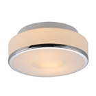 Lynch 2 Light Ceiling Lamp - White Glass, Chrome Metal