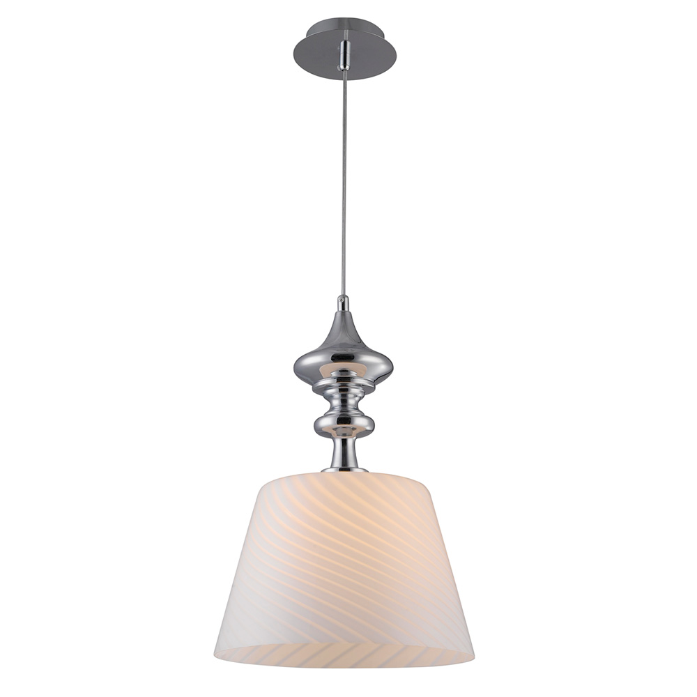 Martell Pendant Light - White Glass, Chrome Metal