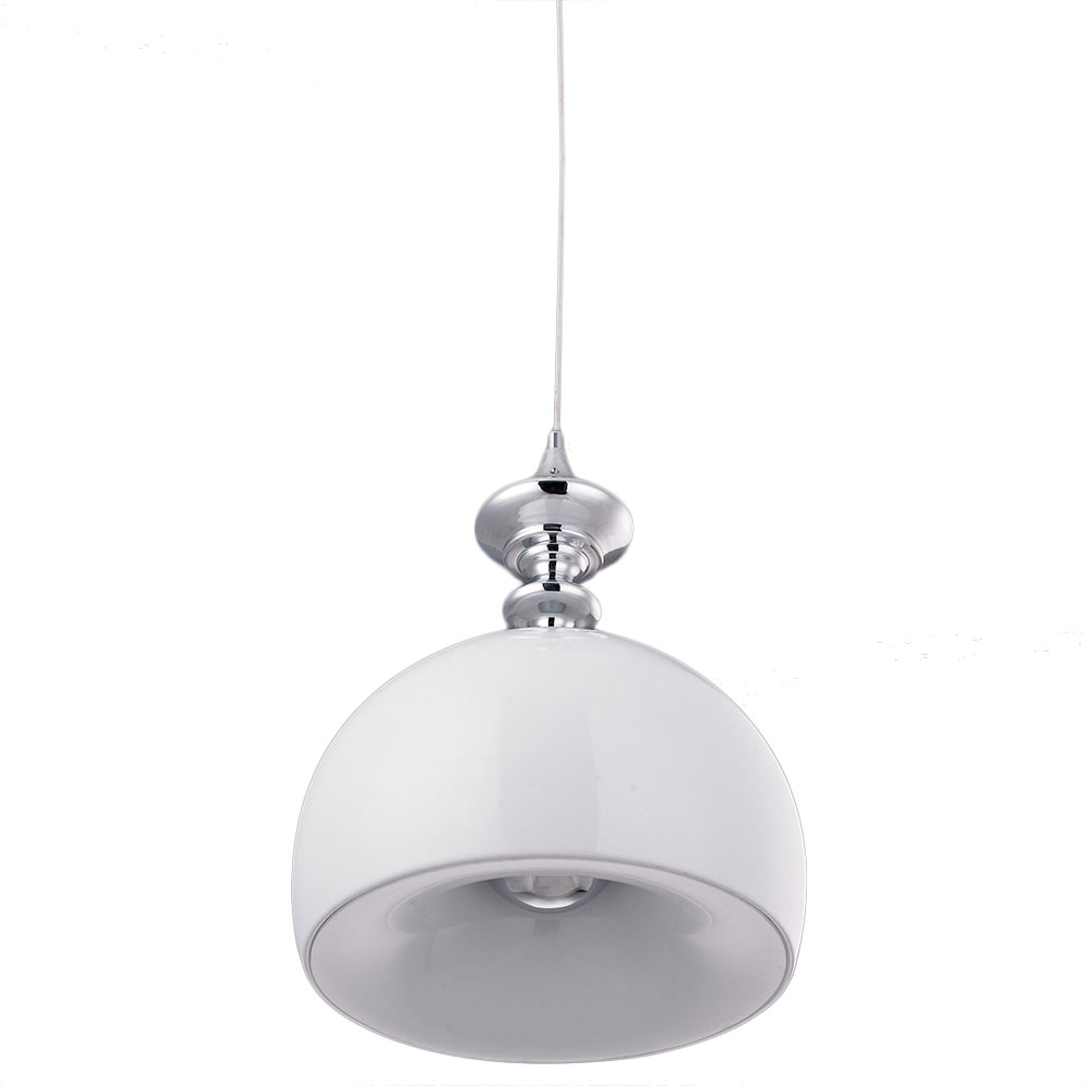 Stamford Pendant Light - White Glass, Chrome Metal