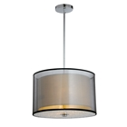 Phoenix Ceiling Lamp - Black Organza & White Linen Shade