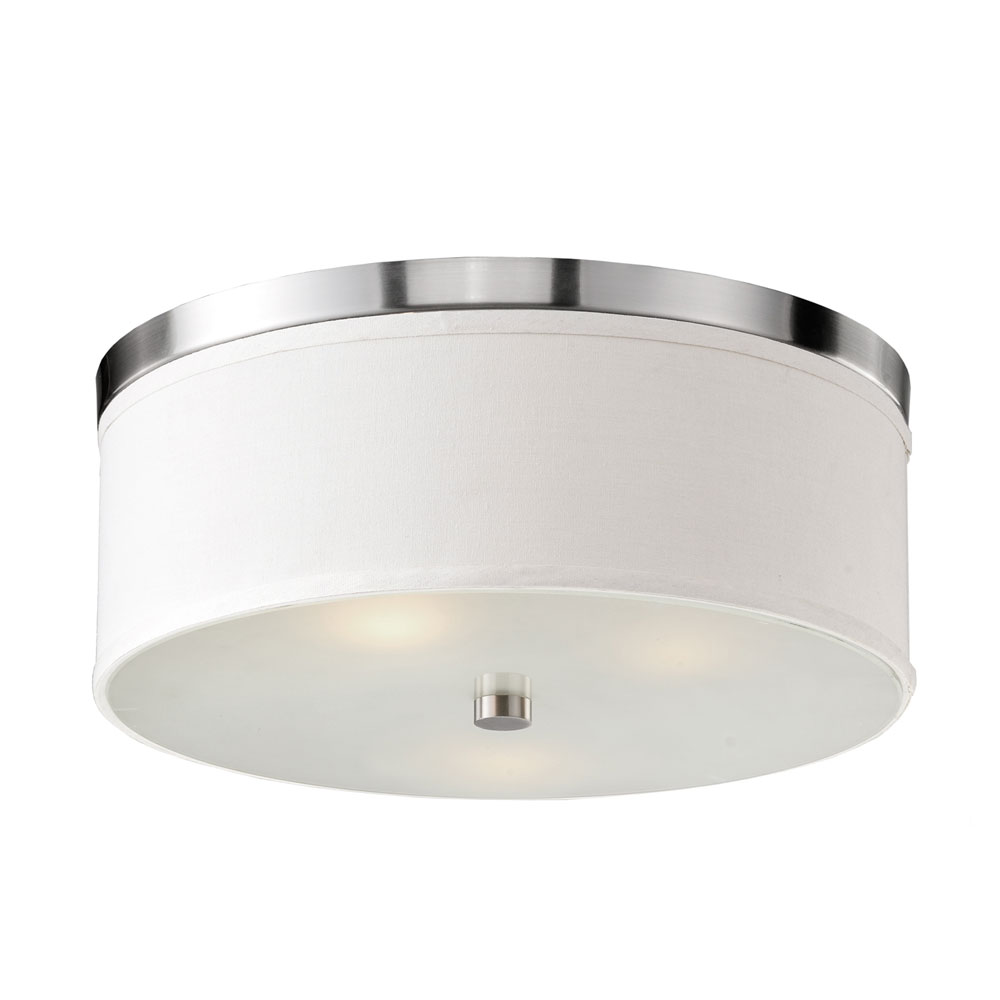 Braxton 20 Inch Ceiling Light - White Linen, Brushed Nickel Trim