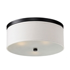 Braxton 20 Inch Ceiling Light - White Linen, Black Trim